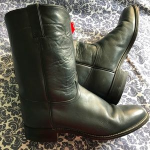 Dark blue leather men's boots